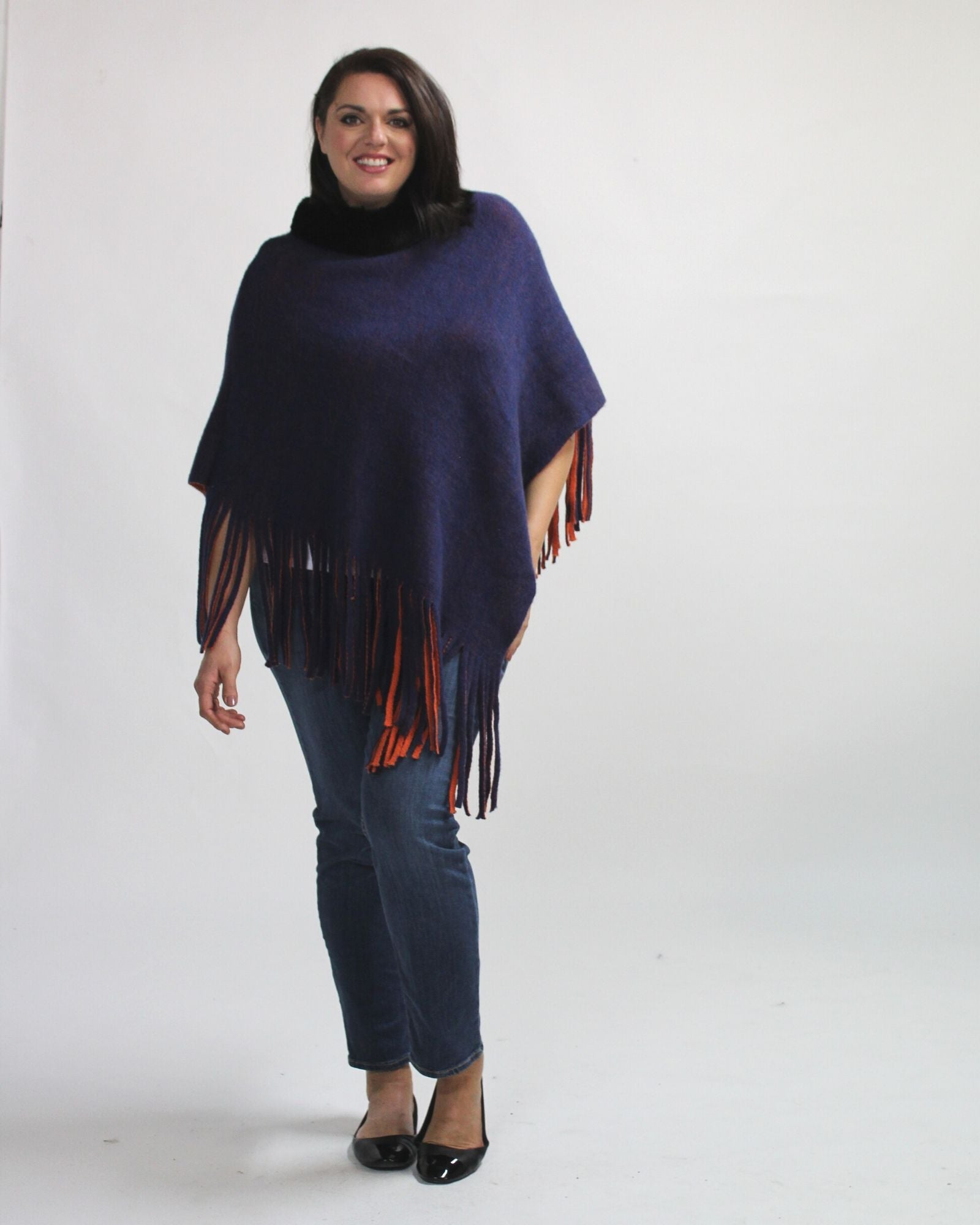 Pullover Poncho with Fur Collar -Blue