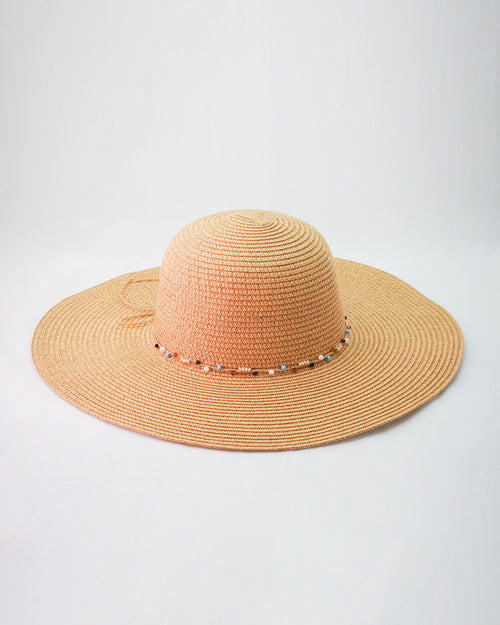Tan Sun Hat - Beaded Trim