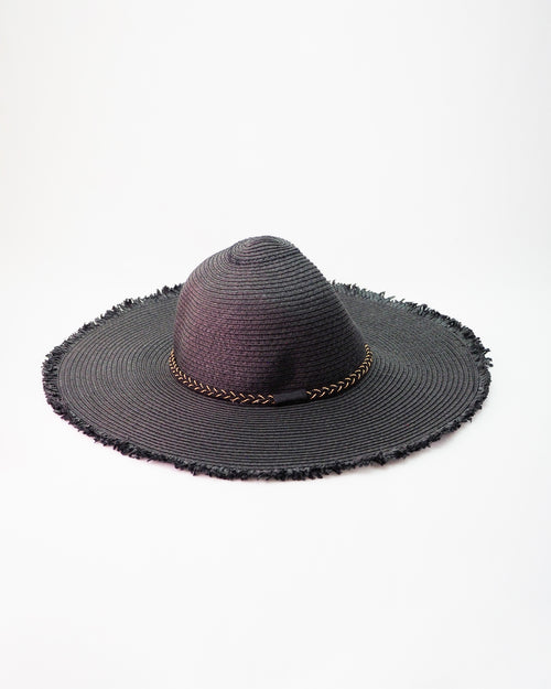 Black Sun Hat - Gold Rope Trim