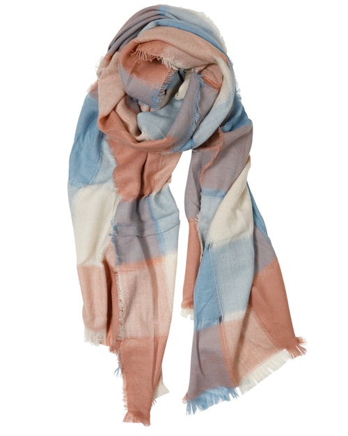 Blue & Tan Check Scarf