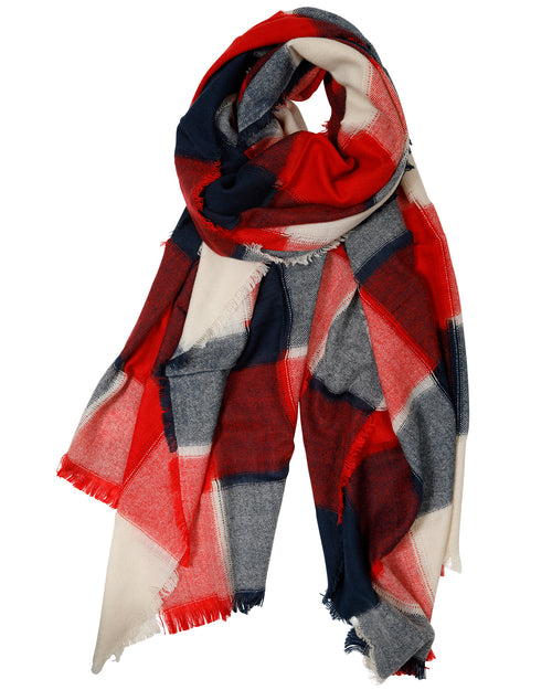 Navy & Red Check Scarf