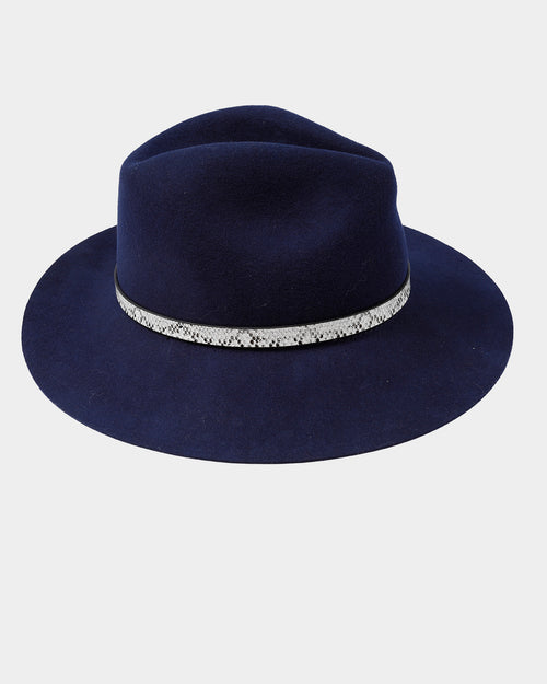 100% Wool Navy Felt Hat - Snake Trim
