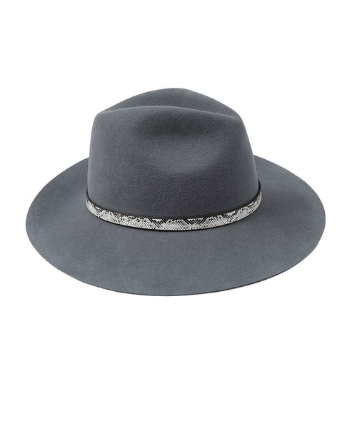 100% Wool Grey Felt Hat - Snake Trim