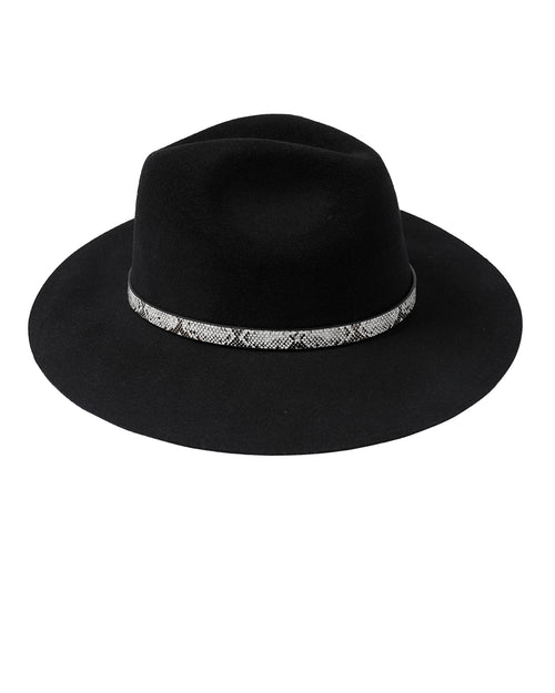 100% Wool Snake Trim Hat -Black