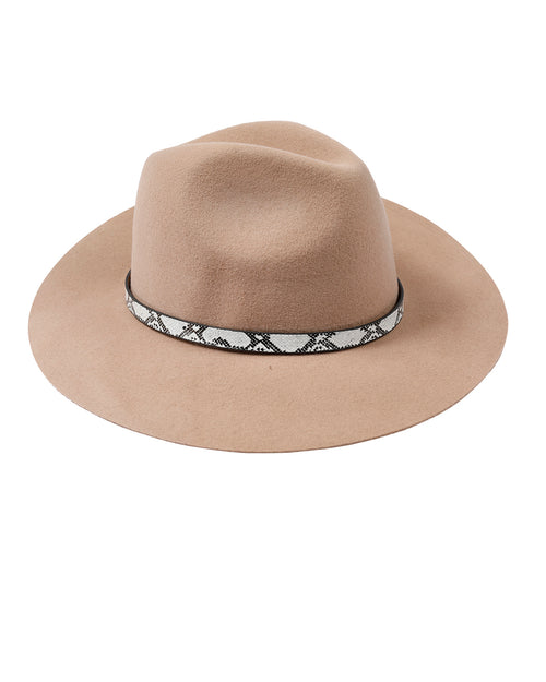 100% Wool Snake Trim Hat - Camel