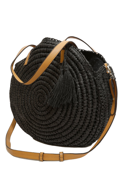 Contrast Wicker Bag - Black