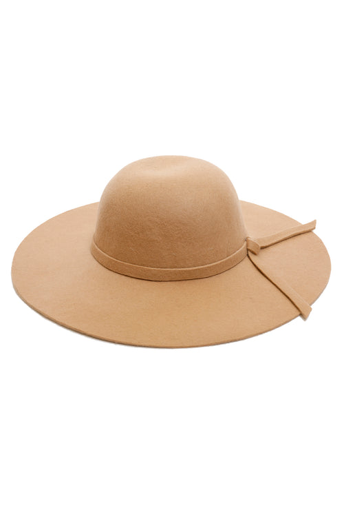 100% Wool Camel Felt Hat - Bow Trim