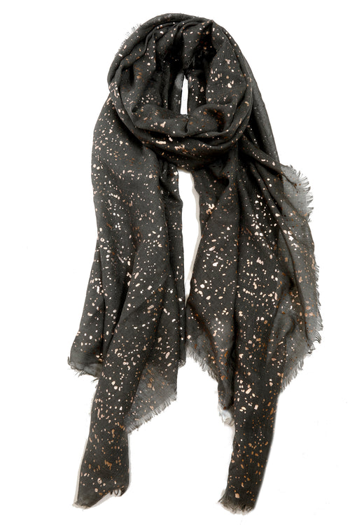 Black Rose Gold Fleck Scarf - Black