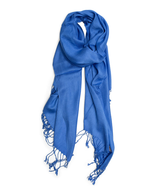 Plain Pashmina Silk Scarf - Cornflower Blue