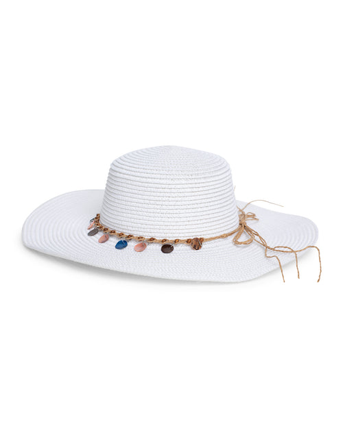 Shell Beaded Sun Hat - White
