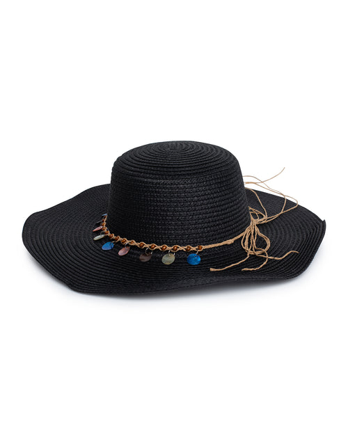 Shell Beaded Sun Hat - Black