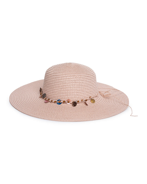 Shell Beaded Sun Hat - Nude Pink