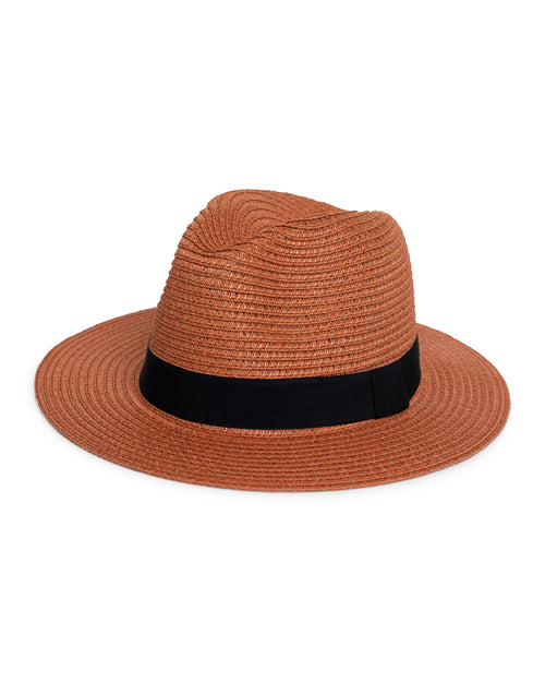 Terracotta Fedora Sun Hat - Black  Trim