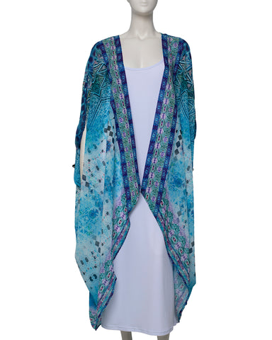 Dip Dyed V Neck Kaftan - Mint