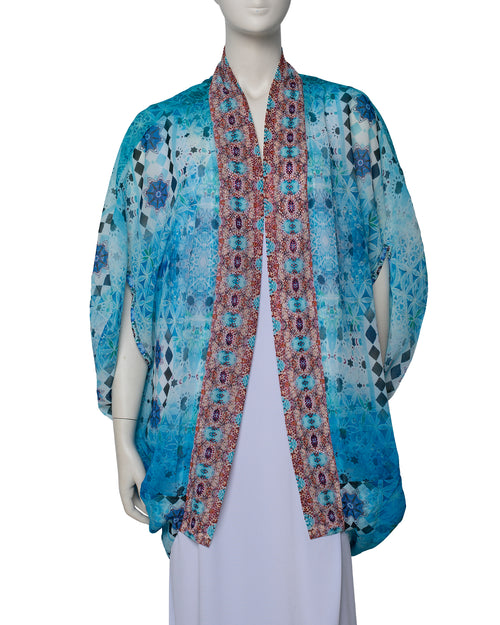 Short Cape Kimono - Soft Blue last one
