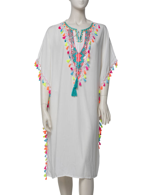 Mutli Colour Tassle Kaftan - White- TAKE $10 OFF