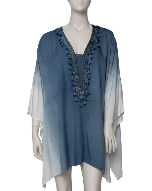 Dip Dyed V Neck Kaftan - Blue - TAKE $10 OFF