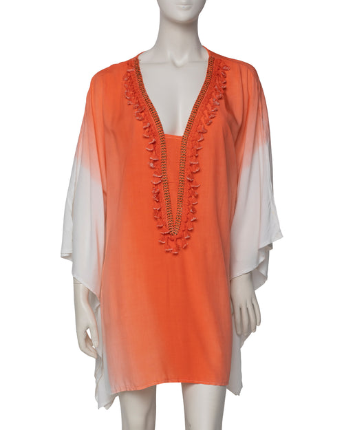 Dip Dyed V Neck Kaftan - Orange - TAKE $10 OFF