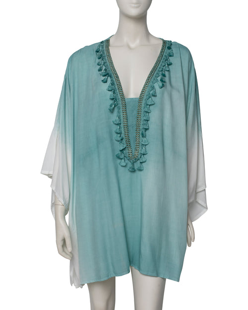 Dip Dyed V Neck Kaftan - Mint - TAKE $10 OFF