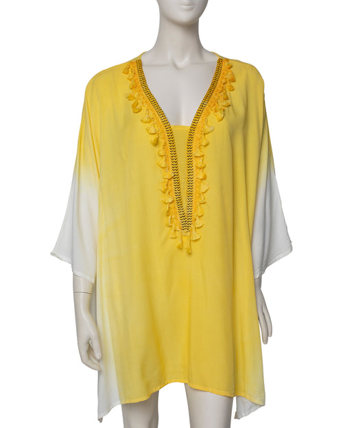 Dip Dyed V Neck Kaftan - Yellow - TAKE $10 OFF