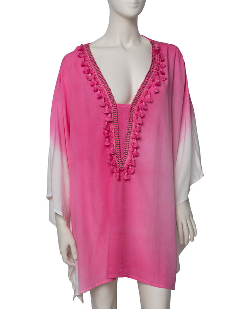 Dip Dyed V Neck Kaftan - Pink - TAKE $10 OFF