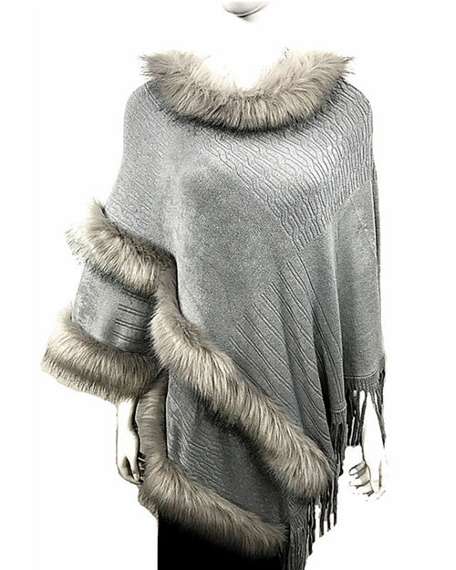 Lux Pullover Poncho Double Faux Fur Trim - Grey