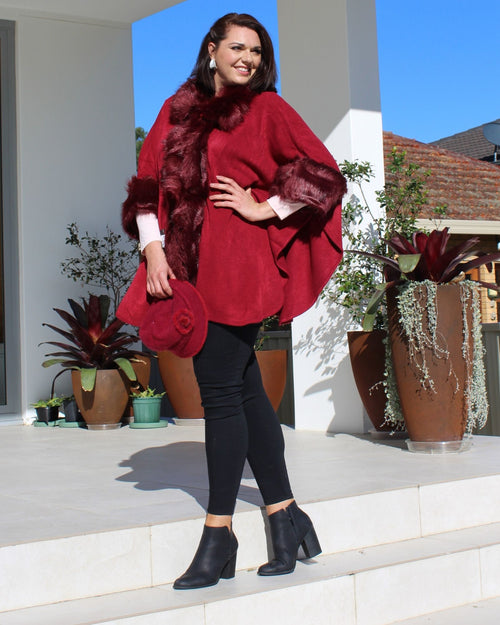 Luxurious Poncho Coat Fur Trim Collar & Cuff - Burgundy