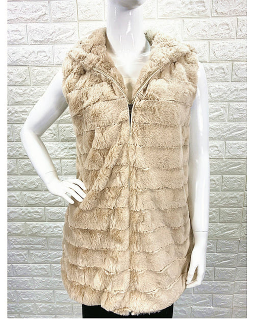 Faux Fur Vest with Hood - Beige
