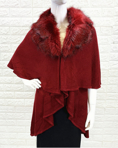 Double Layer Poncho with Lux Faux Fox Fur Collar  - Red
