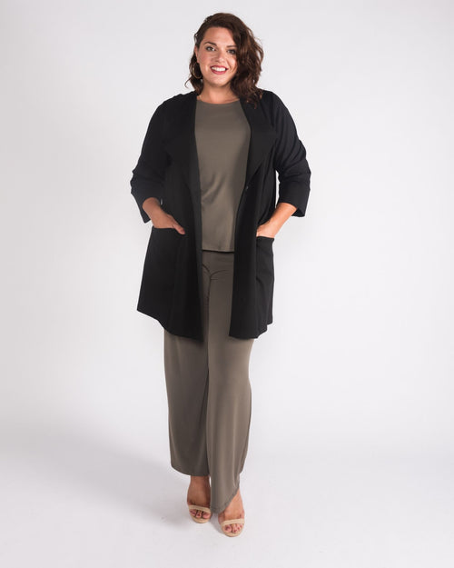 Penelope Single Button Ponte Jacket -Black Last Size 14