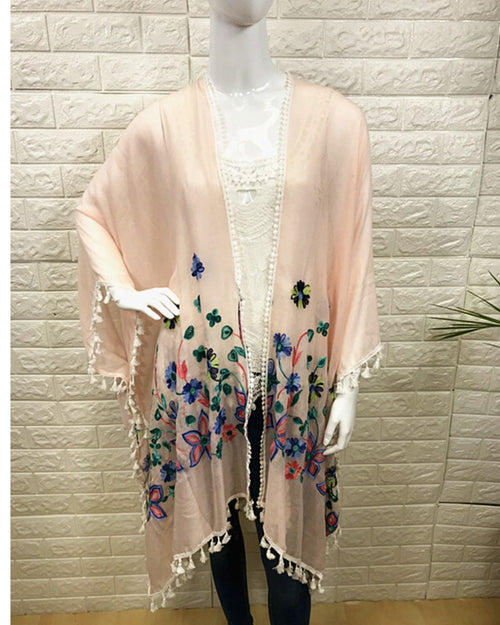 Cotton Embroided Cover Up - Peach