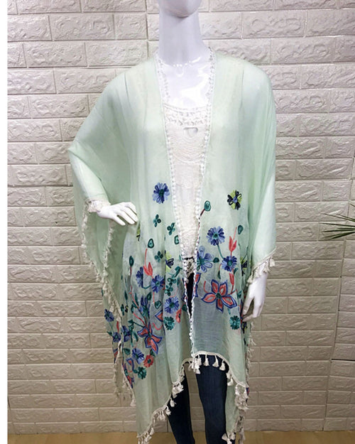 Cotton Embroided Cover Up - Mint