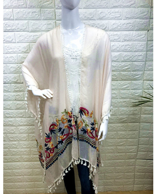 Cotton Paisley Embroidery  Cover Up - Neutral