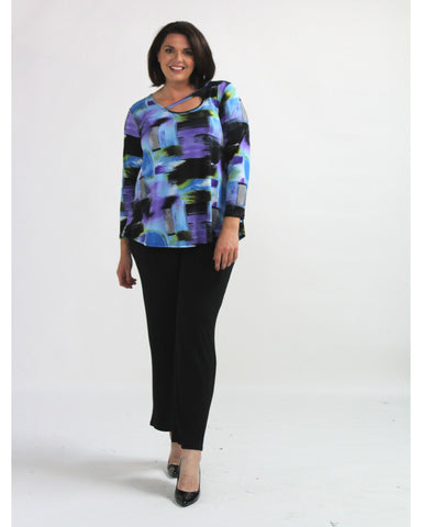 Printed Contrast Soft Knit Top Size 12-26