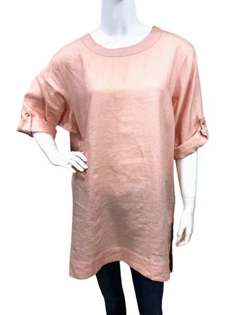 100% Linen Top With Roll Up Sleeves - Pink - Size 10-18
