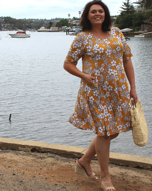 Pocket Dress - Yellow Print- Limited Sizes Left