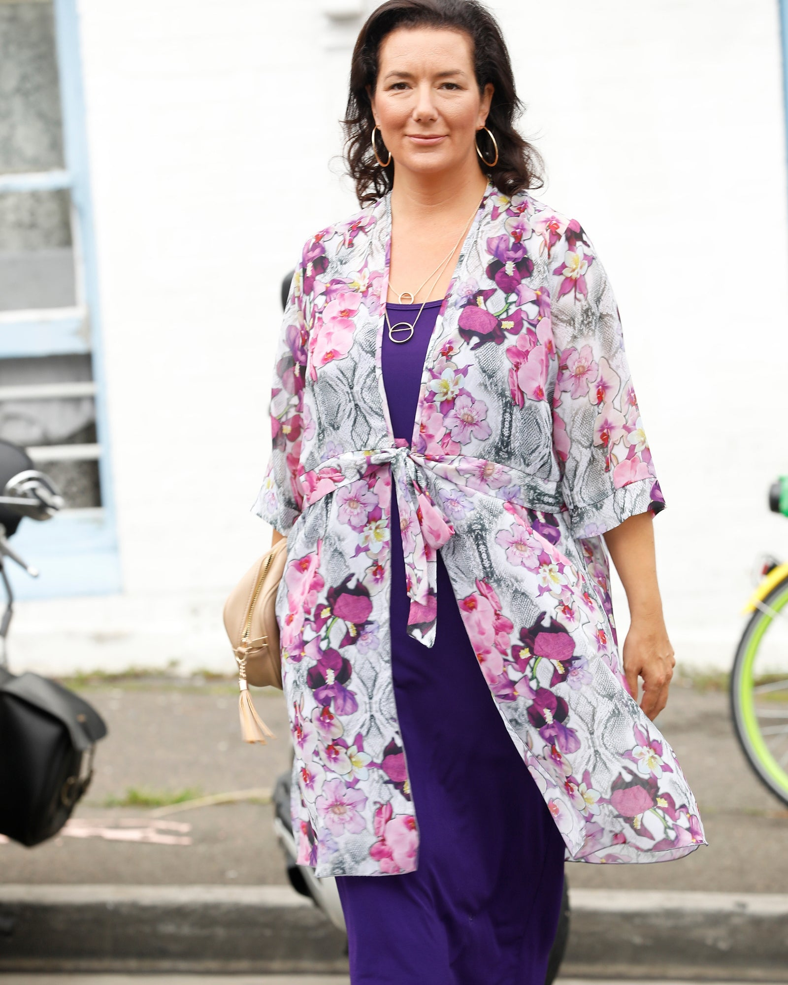 Karly Chiffon Jacket- Purple sizes 14-22