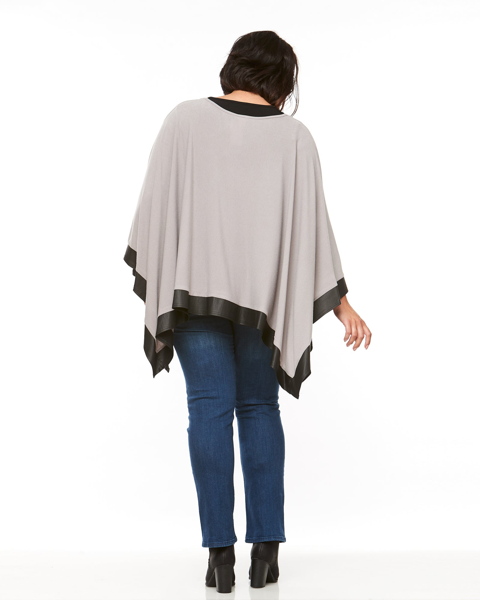 Knit Poncho- Cement
