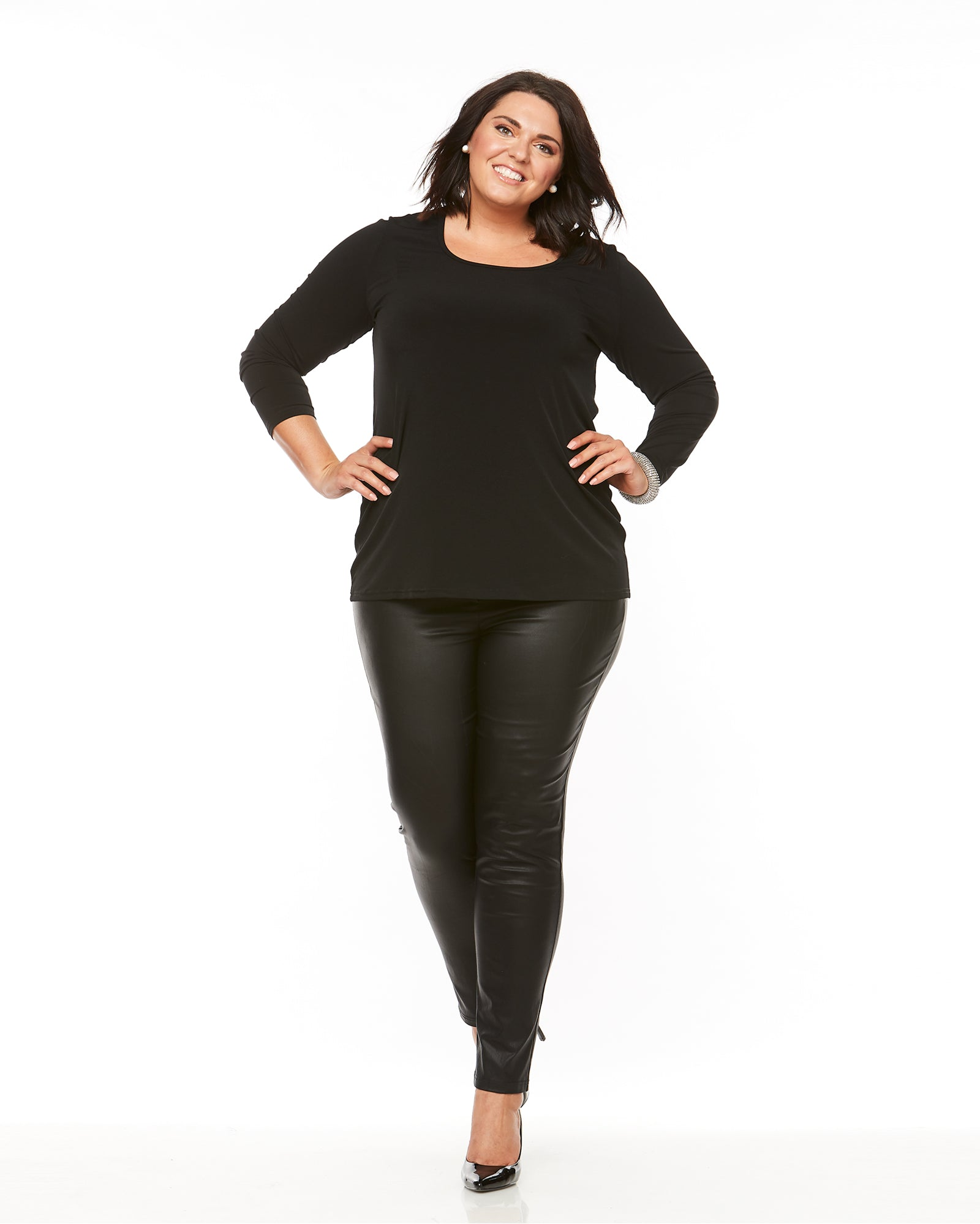 Soft Knit Long Sleeve Top-Black