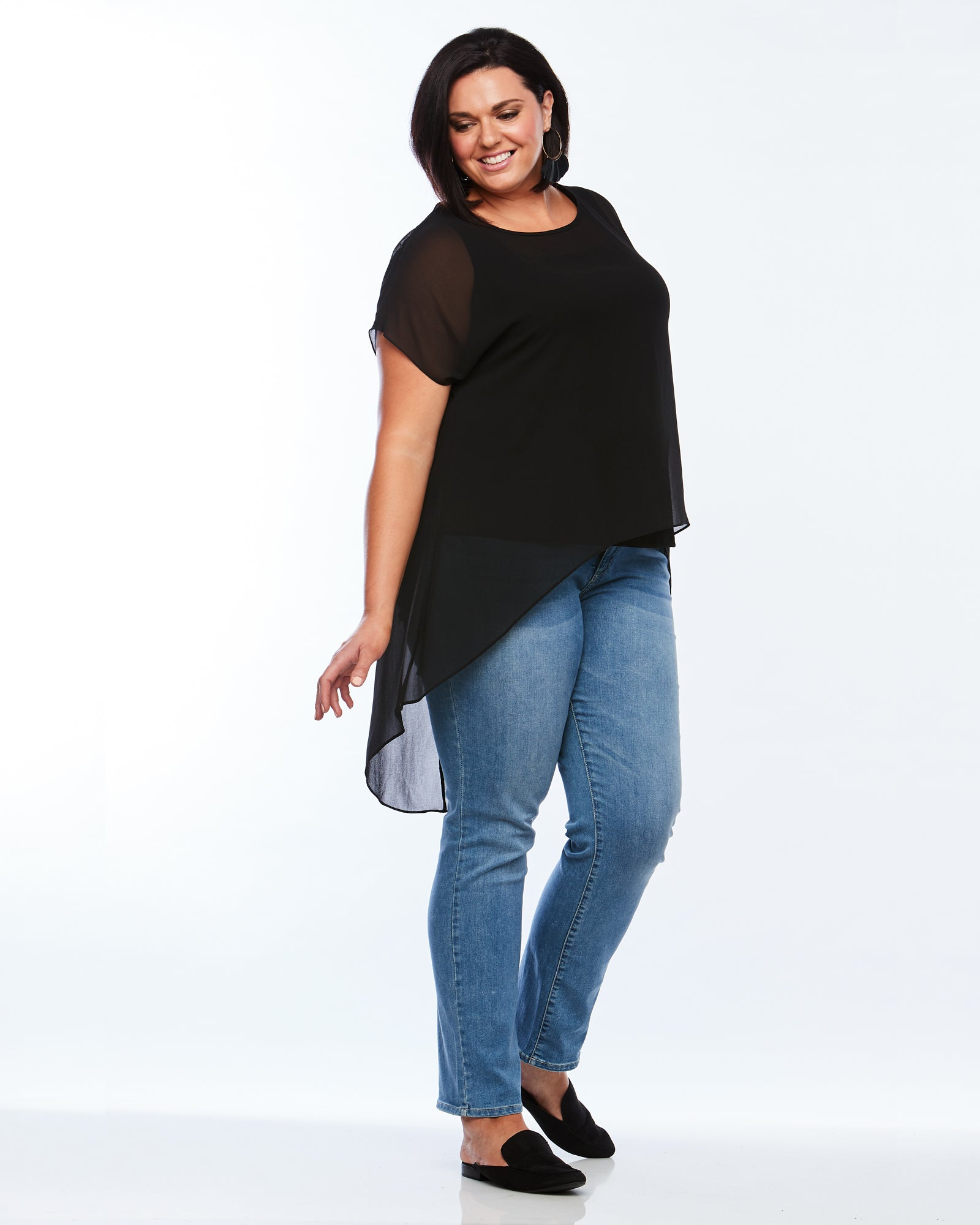 Room To Move Overlay top, plus size Black Top