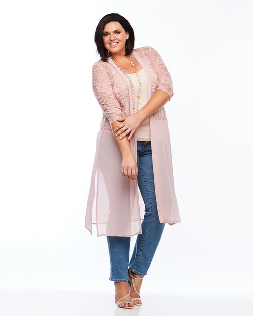 Room To Move Pink Cardigan, Lace Cover up, Pink