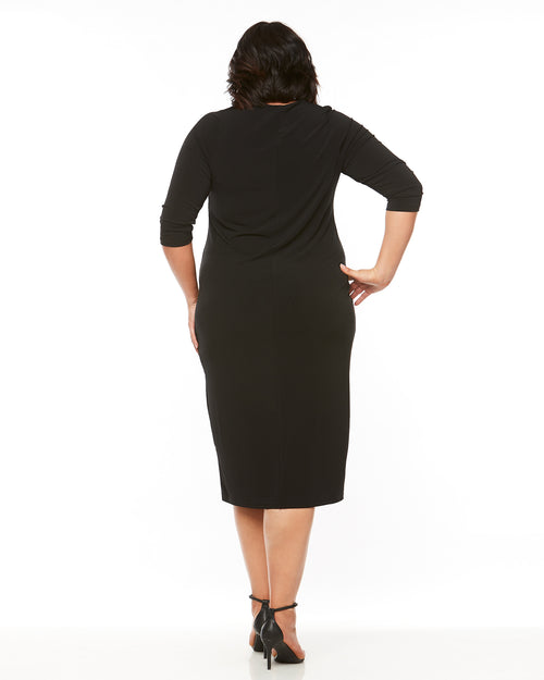 Dawn V-Neck 3/4 Sleeve Dress - Black