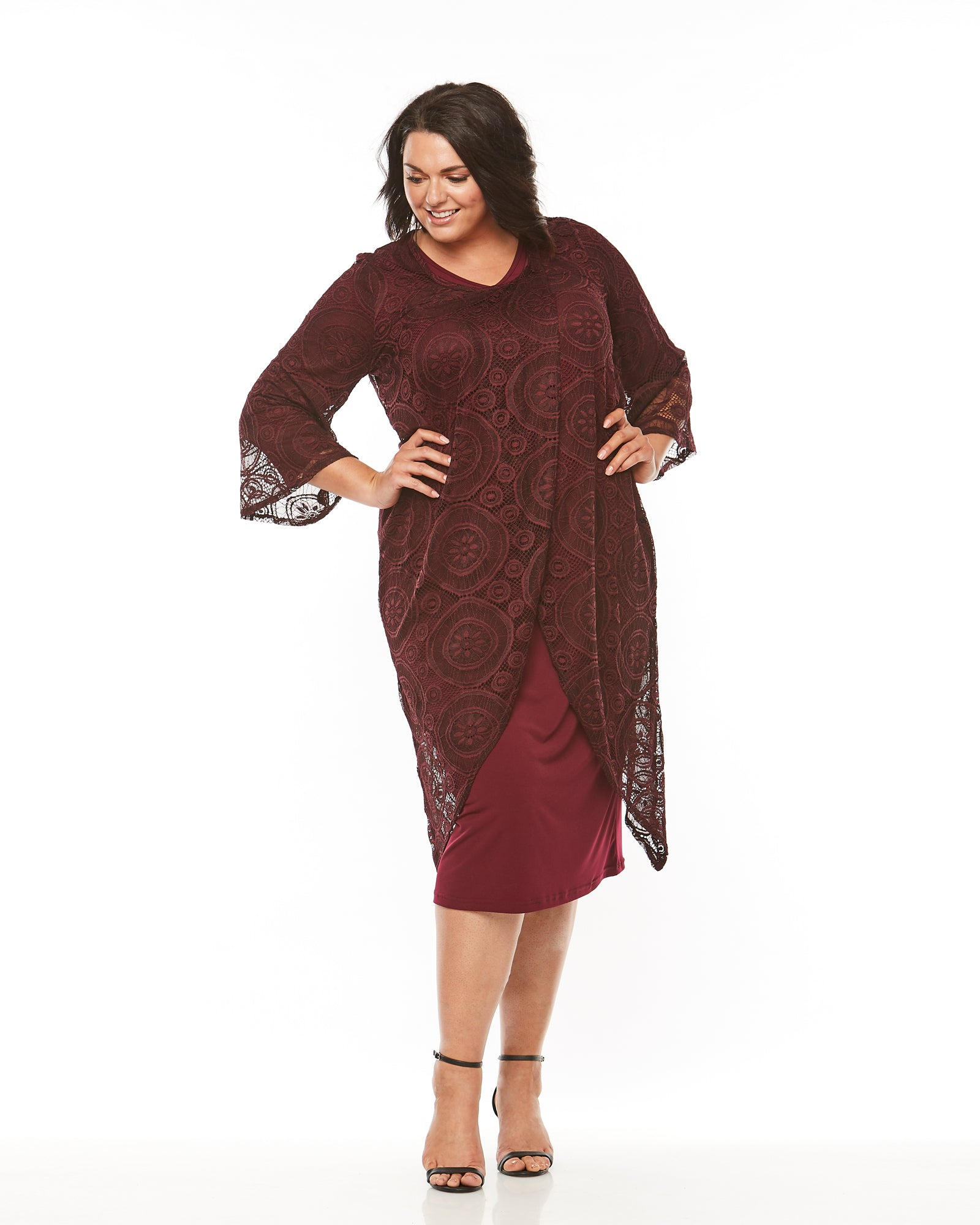 Jessica Overthrow Lace Jacket -Burgundy- LAST ONES SIZE 12 and 14