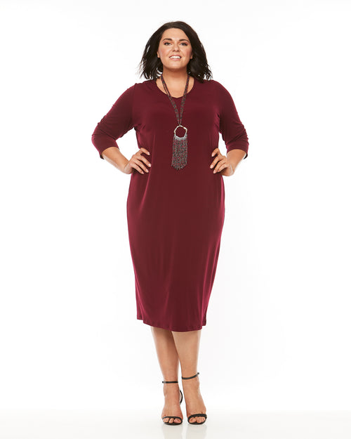 Dawn V-Neck 3/4 Sleeve Dress - Port - LAST ONE SIZE 24