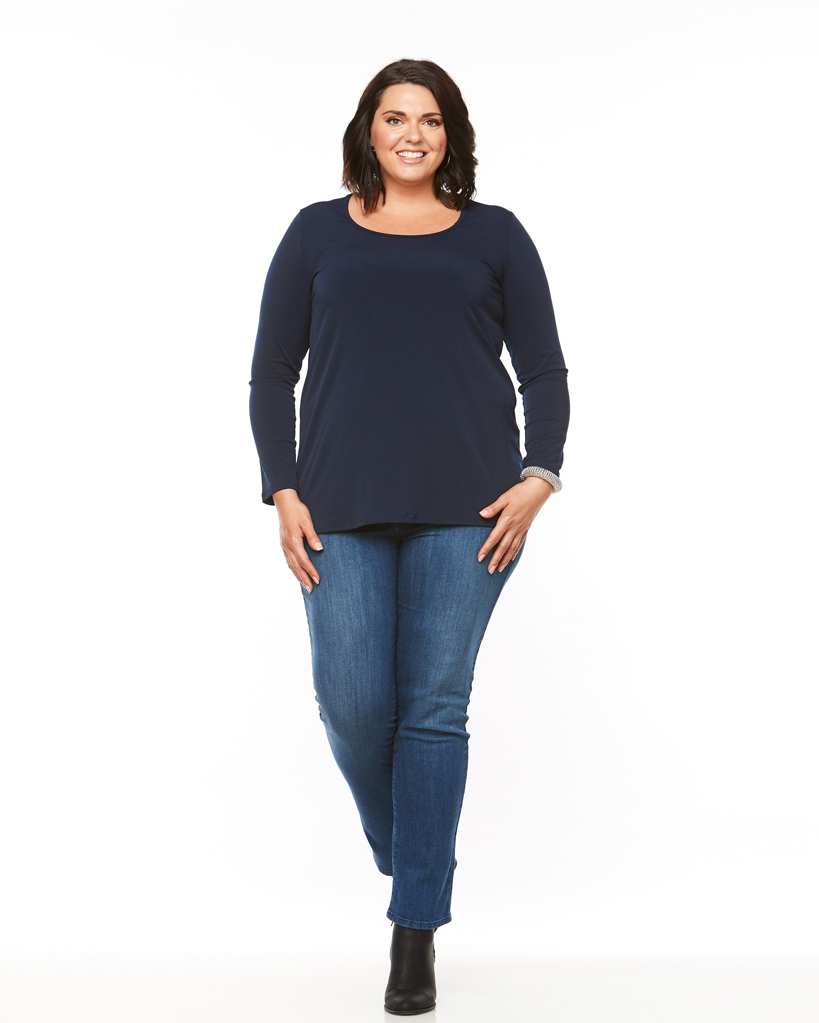Soft Knit Long Sleeve Top - Navy Size 12-24