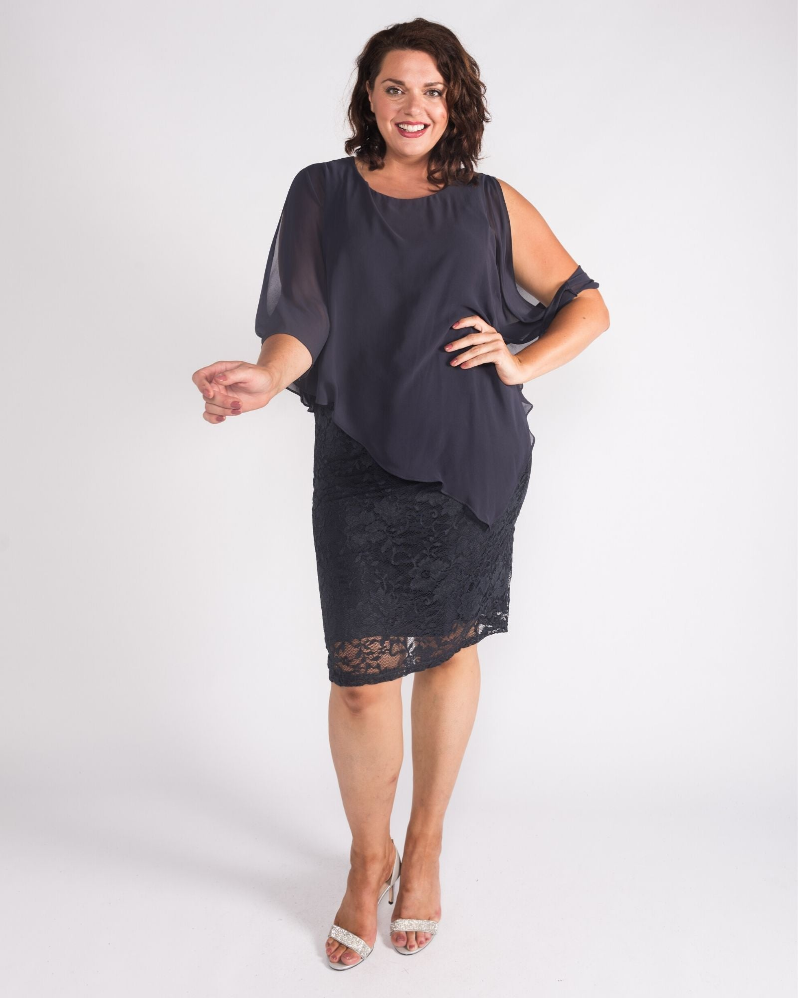 Michelle Lace dress charcoal size 20,24,26