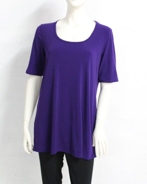 Short Sleeve Soft Knit Top - Purple Size 14