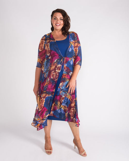 Ashley Chiffon Overcoat - Leaf Print - Size 12 -26