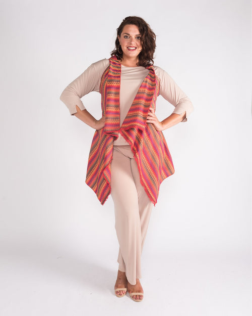 Colourful Stripe Vest - Red