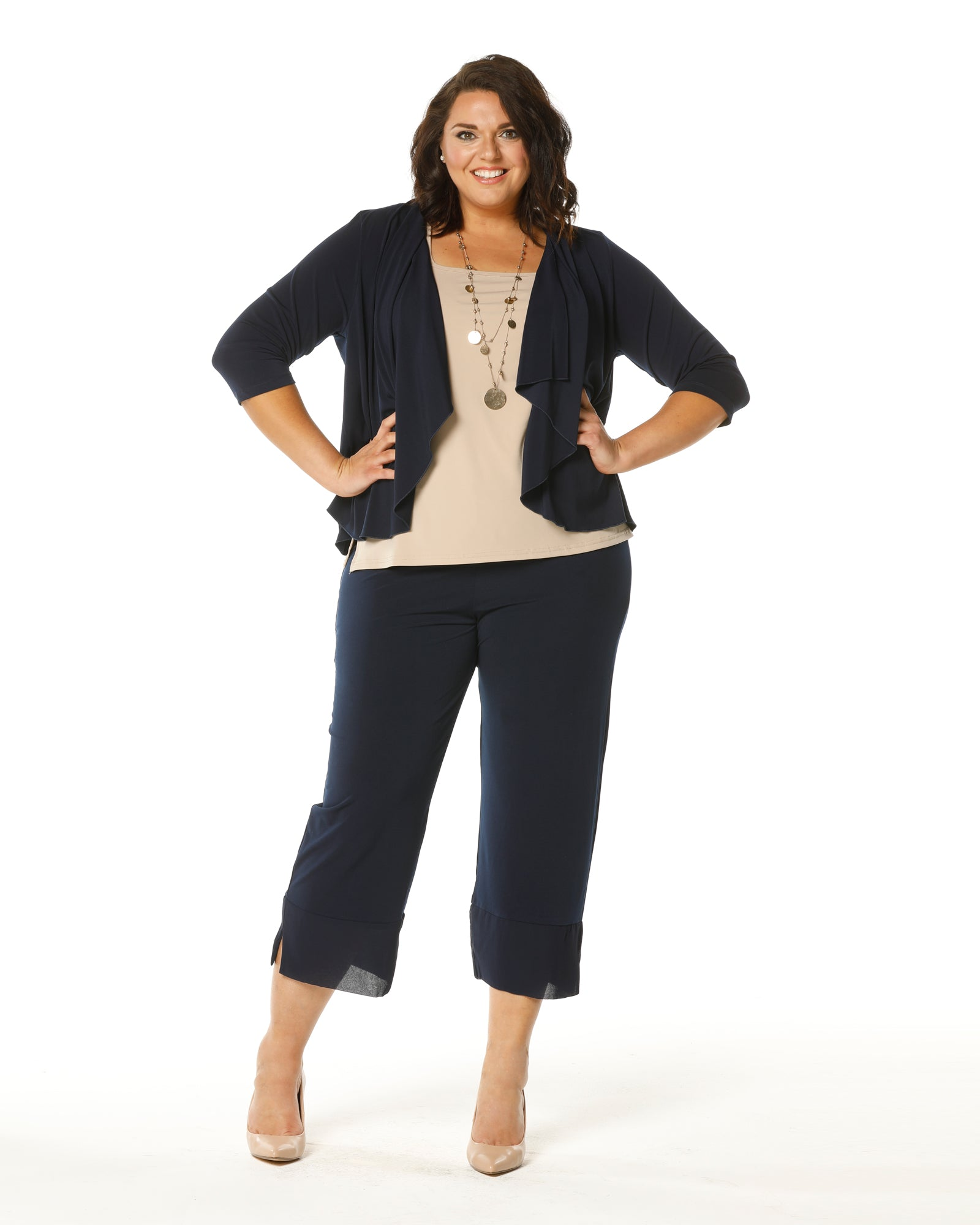 Crop Ayva Chiffon Pants -Navy size 12,16,18